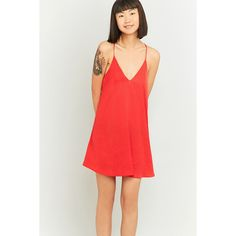 Pins & Needles Hammered Satin Slip Dress ($47) ❤ liked on Polyvore featuring dresses, red, deep v neck dress, sun dresses, mini sundress, red slip dress and racer back dress