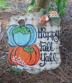 Dollar Tree Pumpkins, Wood Pumpkins, Painted Pumpkins, Fall Wooden Door Hangers, Letter Door Hangers, Fall Canvas, Canvas Art, Christmas Red Truck, Pumpkin Door Hanger