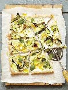 zucchini, ricotta + basil tart.  photo: Linda Pugliese   food: Chelsea Zimmer  props: Jill Galarneau