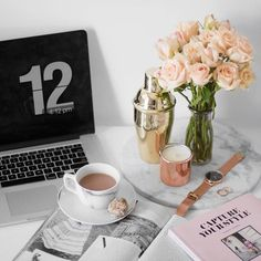 today's workspace + fresh blooms