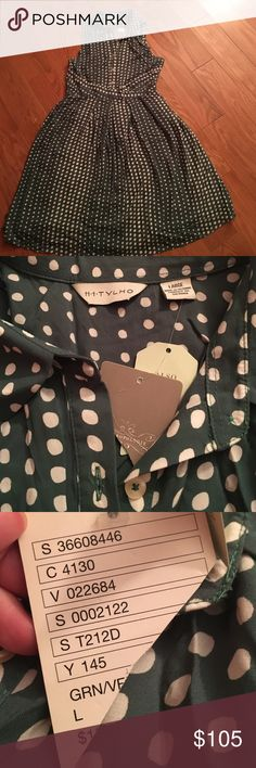 Anthropologie Dot Collar Dress NWT. Green and white vintage style polka dot dress. Super cute with collar and waist detail. Anthropologie Dresses Midi