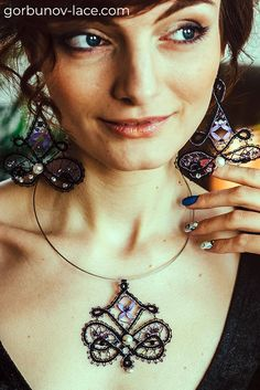 Lace bijouterie set «Oriental» made in tape bobbin lace technique Necklace + earrings Russian bobbin lace Natural silk, mulina, beads, stones Cloth stitch, tally, plait Pattern for lace making is available on our website Lace Earrings, Lace Jewelry, Jewellery, Crochet Minecraft, Bobbin Lace Patterns, Lacemaking, Architecture Tattoo, Funny Design, Beads