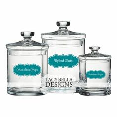 Pantry Canister Labels - SOLD INDIVIDUALLY: Lacy Bella | Personalized Vinyl Lettering and Wall Decals