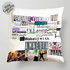 5 seconds of summer Lyric amnesia pillow case, cover ( 1 or 2 Side Print With Size 16, 18, 20, 26, 30, 36 inch )