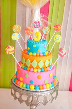 Colorful cake at a Sweets Party #sweetsparty #cake
