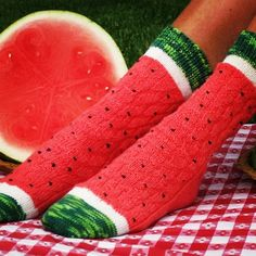 Ravelry: Pasteque - Watermeloen - Watermelon Slice Socks pattern by Wendy Gaal Funky Socks, Crazy Socks, Cute Socks, My Socks, Awesome Socks, Knitting Projects, Knitting Patterns, Watermelon Slices, Elite Socks