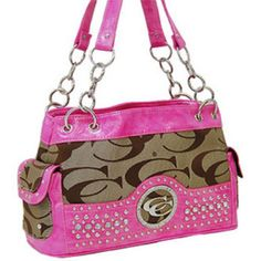 Handbags, Bling & More! Pink and Khaki Fashion Signature Patch Bling Purse : Designer Inspired Purses