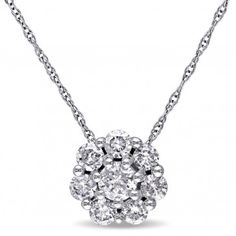 10K White Gold I2-I3 Diamond Fashion Pendant with Chain, 3/4 ctw