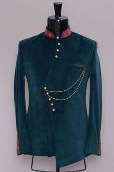 Dark Green Zardosi Embroidered Suede Jodhpuri Suit-VK1924