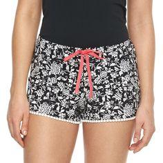Women's Apt. 9® Pajamas: Monique Border Printed Pajama Shorts, Size: Large, Black