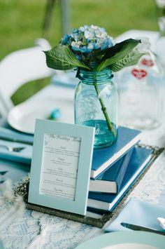 Menu bleu pour table champêtre  #mariage #wedding