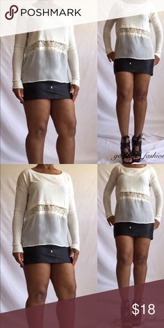 Final Price💕❤️Cream Lace Sweater Brand new with tags Cream lace sheer sweater Junior small cans fit a size 6 Sweaters