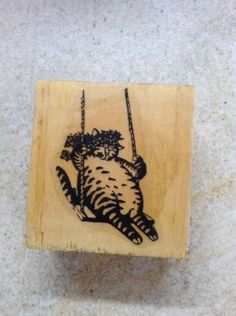 Kliban Cat Rubber Stamp Kliban on Swing with Flowers Hand Mount | eBay