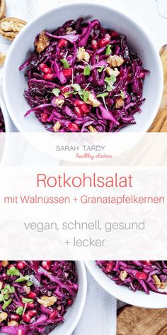 Rotkohlsalat – sarah tardy % % A festive red cabbage salad with roasted walnuts and pomegranate seeds, perfect as a starter for a festive menu, but also as a main course during the week or as an office meal. Raw Food Recipes, Salad Recipes, Healthy Recipes, Whole30 Recipes, Pasta Recipes, Sweet Recipes, Baking Recipes, Red Cabbage Salad, Roasted Walnuts