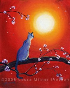 how to paint animals with acrylic | ... Blossoms at Sunset Original Acrylic Painting by Laura Milnor Iverson