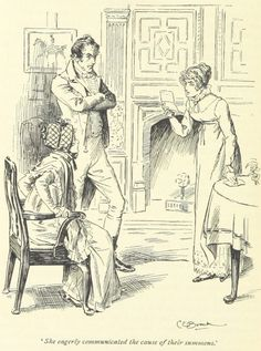 Jane Austen Pride and Prejudice - she eagerly communicated the cause of their summons