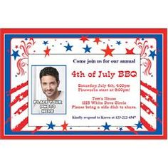 Patriotic Stars and Stripes Custom Photo Personalized Invitations from Windy City Novelties