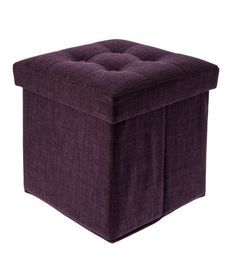 Collapsible Storage Ottoman – Purple – 38x38x38cm – Linen - Casa Uno