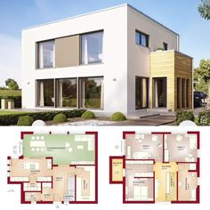Modern Bauhaus Architecture House Plan Design Evolution 154 - Dream Home Ideas with Double Storey House Plans Drawing - Open Floor Interior Design Home Styles with Kitchen and Living Room Bathroom Bedroom Garage and Garden Exterior - Rendering Photogra House Layout Plans, Dream House Plans, Modern House Plans, Layouts Casa, House Layouts, Architecture Bauhaus, Modern Architecture, Drawing Architecture, Minimalist Architecture