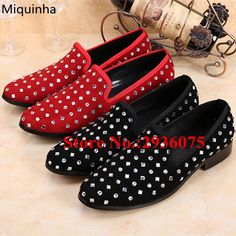 81.99$  Buy here - http://ali2z1.shopchina.info/1/go.php?t=32811864513 - Black Red Suede Leather Crystal Embellished Mens Party Wedding Shoes Casual Flats Slip-On Loafers Dress Brand Chaussure Homme  #shopstyle