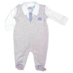 FAO Schwarz Boys' Velour Footed Coverall