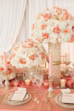 Coral And Gold Wedding Decoration Ideas Coral Wedding Decorations, Coral Wedding Themes, Wedding Color Schemes, Reception Decorations, Coral Weddings, Peach Wedding Centerpieces, Gold Centerpieces, Summer Weddings, Indian Weddings
