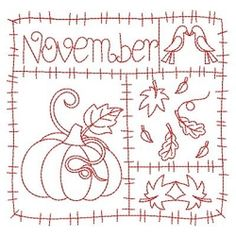 Redwork 12 Months of the Year, November - 3 Sizes! | Fall | Machine Embroidery Designs | SWAKembroidery.com Ace Points Embroidery