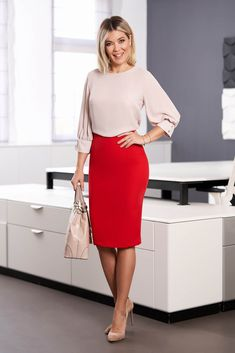 StarShinerS cream women`s blouse elegant short cut flared with rounded cleavage airy fabric large sleeves Fabric Textures, Short Cuts, Work Outfits, Dress Skirt, Nice Dresses, Cream, Elegant, Business, Sexy