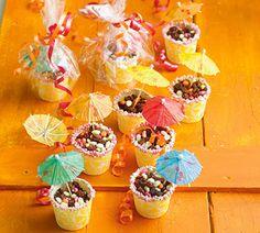 Snoeptuintje - traktatie met rozijntjes, chocola en parapluutjes