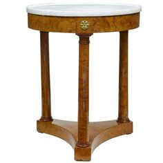 Late 19th Century Empire Influenced Round Birch Marble Top Occasional Table | From a unique collection of antique and modern gueridon at https://www.1stdibs.com/furniture/tables/gueridon/