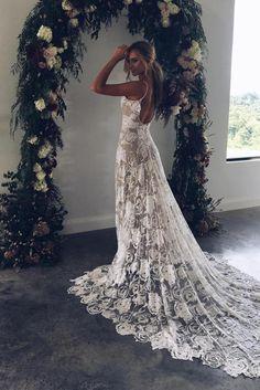 Wedding dresses with straps boho grace loves lace Ideas Backless Lace Wedding Dress, Bohemian Wedding Dresses, Modest Wedding Dresses, Wedding Dress Styles, Bridal Dresses, Dress Wedding, Lace Dresses, Wedding Attire, Wedding Beach