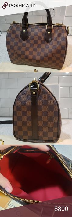 Speedy Bandoulière 25 Damier Ebene Includes  Bag Dust Bag Lock and Key 3  Piece Strap b5529d94a1f5f