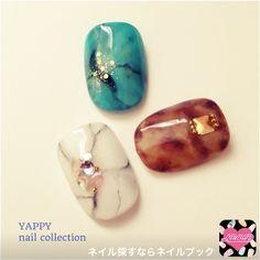 ネイル 画像 1223014 ブラウン 青 白 アンティーク べっ甲 オフィス 冬 海 秋 夏 春 ソフトジェル ミディアム ショート Marble Art, Marble Nails, Acrylic Nails, Glam Nails, Glitter Nails, My Nails, Japan Nail Art, Bohemian Chic Fashion, Rose Nails