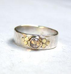 Engagement Ring  14k gold ring silver ring White Topaz by OritNaar, $99.00