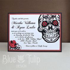 sugar skull wedding invitation stationery, dia de los muertos, Wedding invitations
