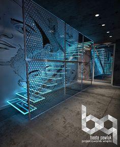 Nightclub design - Apartment dj`a on Behance Gym Interior, Futuristic Interior, Interior Architecture, Interior And Exterior, Bar Interior Design, Futuristisches Design, Store Design, House Design, Sport Bar Design