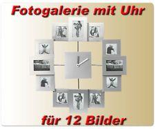 * 3D Fotouhr in Silber 35,5x35,5 cm für 12 Fotos *