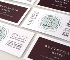 Identity system for Butterfield Market in NYC. Design by Mucca Design Graphic Design Branding, Identity Design, Typography Design, Logo Design, Brand Identity, Type Design, Stationery Design, Web Design, Brand Packaging