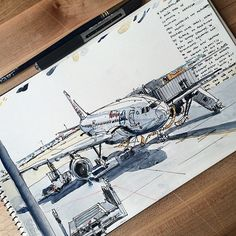 The #Airbus at Madrid, before the flight to NYC. #sketch #caballo #uniball #usk…
