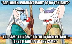 Love this! Pinky and the Brain/Laman and Lemuel