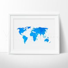 World Map Watercolor Art. This art illustration is a composition of digital watercolor images and silhouettes in a minimalist style.