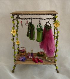 Fairy Wardrobe with Clothes and Accessories / Nikki / 1:12 Dolls House / Fantasy by Nikkinikkinikki72 on Etsy