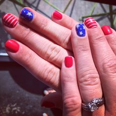 Fourth of July Nails by Sindia Rodriguez. 4th Of July Nails, Fourth Of July, Patriotic Nails, Gel Polish Manicure, Star Nails, Striped Nails, Nail Technician, Denver Colorado, Opi