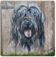 Werk van Jan-Art Schilderingen, hondenportretten op steigerhout
