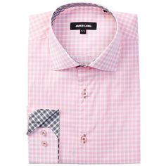 Jared Lang Long Sleeve Check Dress Shirt (79 CAD) ❤ liked on Polyvore featuring men's fashion, men's clothing, men's shirts, pink plaid, mens pink shirts, mens long sleeve plaid shirts, mens checkered dress shirts, mens cotton shirts and mens pink plaid shirt