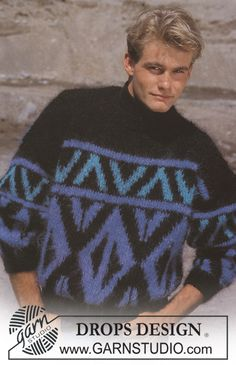 """DROPS 15-16 - DROPS jumper with pattern borders in """"Vienna"""". Ladies and men's sizes S – L. - Free pattern by DROPS Design"""