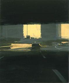 """darksilenceinsuburbia: Ben Aronson. Commuter, 2005. Oil on panel, 22 x 18 1/2""""."""