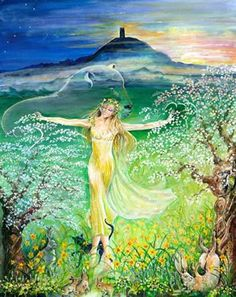 Avalon Camelot King Arthur:  Glastonbury Tor.  ~Painting of Artha by: Caroline Gully-Lir