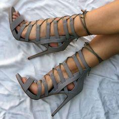 lace up heels grey color shoes heels sandals Dr Shoes, Cute Shoes, Me Too Shoes, Golf Shoes, High Heel Boots, Shoe Boots, Pumps Heels, Stiletto Heels, Sandal Heels