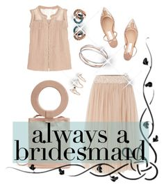 """""""Bridesmaid in nude"""" by meryfern on Polyvore featuring moda, Chelsea Flower, Lace & Beads, Jimmy Choo, Modern Weaving, Topshop, Links of London, BridesMaid, polyvorecontest y polyvorefashion"""